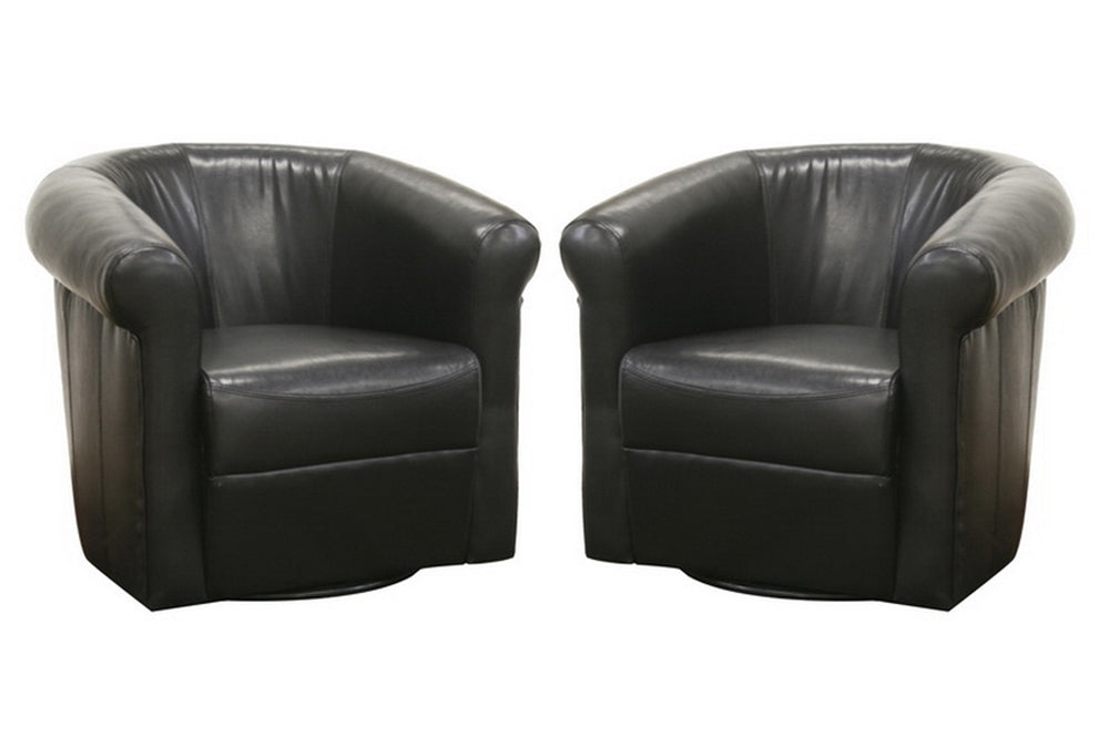 JULIAN BLACK BROWN FAUX LEATHER CLUB CHAIR WITH 360 DEGREE SWIVEL