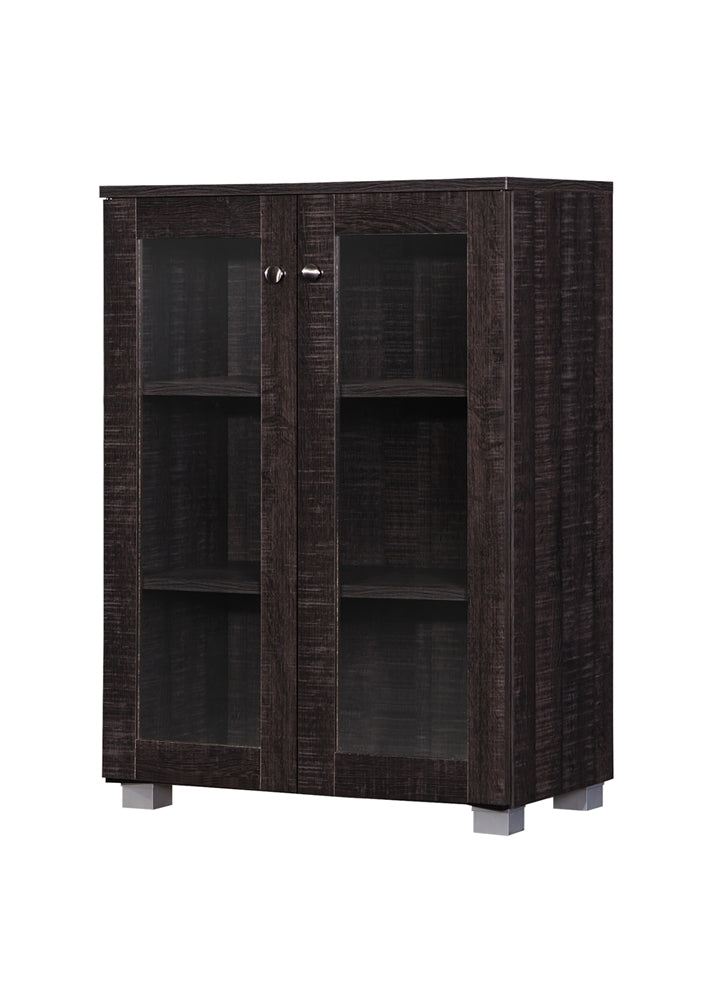 MASON MODERN AND CONTEMPORARY DARK BROWN MULTIPURPOSE STORAGE CABINET SIDEBOARD WITH TWO CLASS DOORS