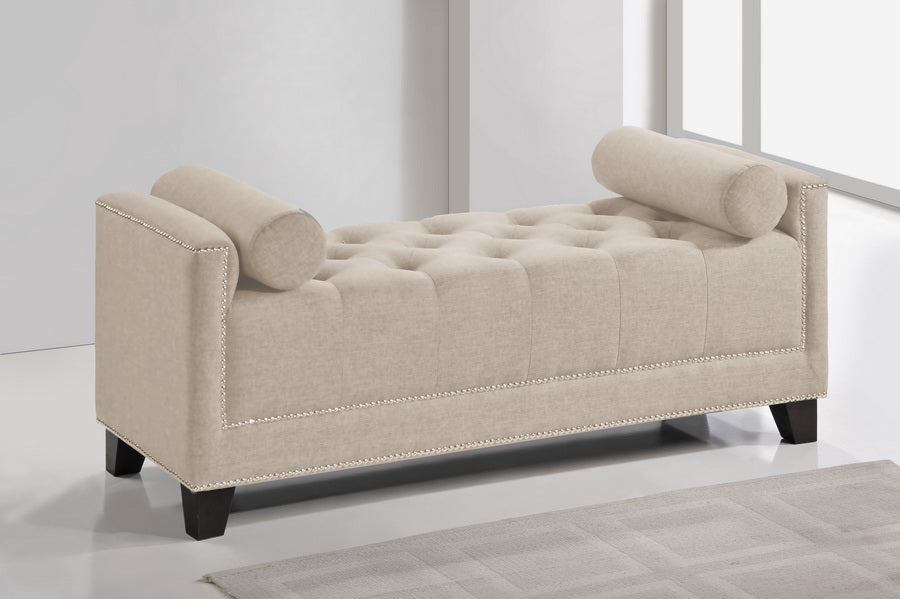 HIRST LIGHT BEIGE PLATFORM BED- QUEEN SIZE WITH BENCH
