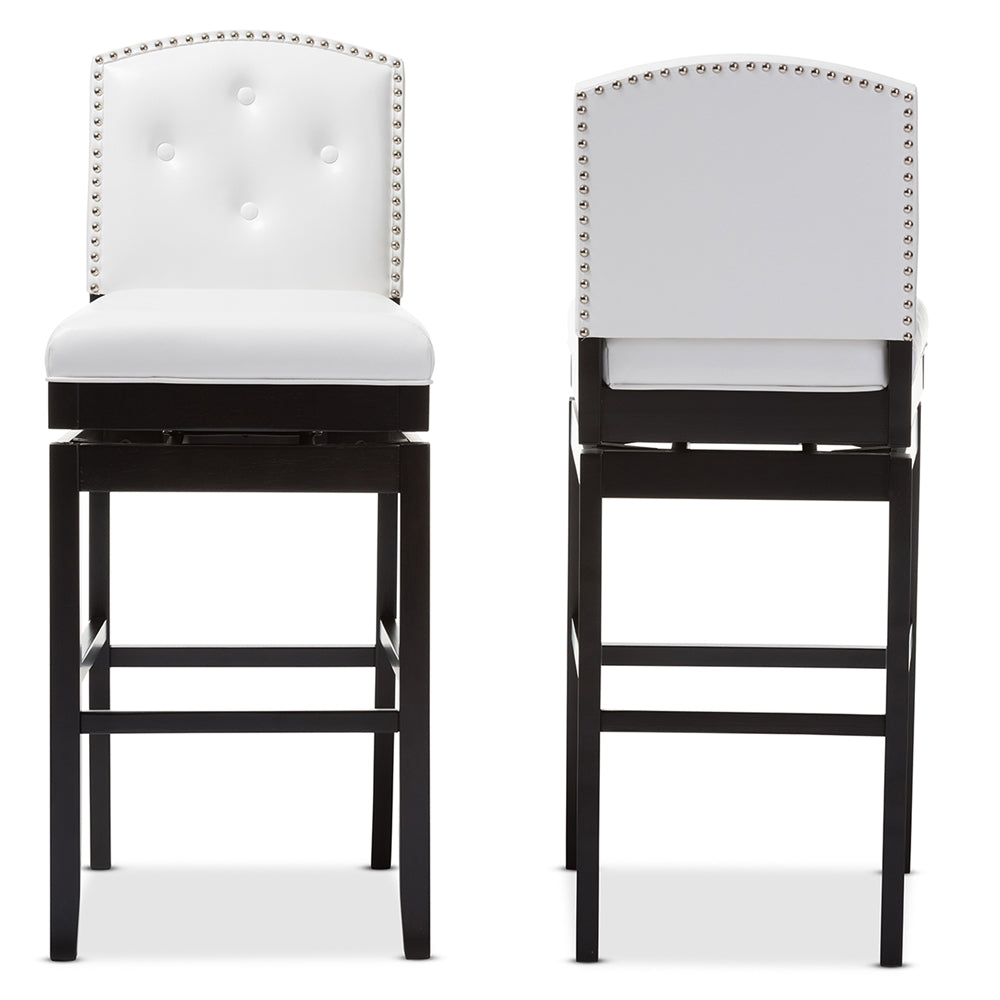 GINARO MODERN AND CONTEMPORARY WHITE FAUX LEATHER BUTTON-TUFTED UPHOLSTERED SWIVEL BAR STOOL