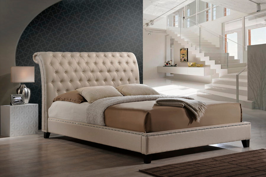 JAZMIN TUFTED LIGHT BEIGE MODERN BED WITH UPHOLSTERED HEADBOARD - KING SIZE