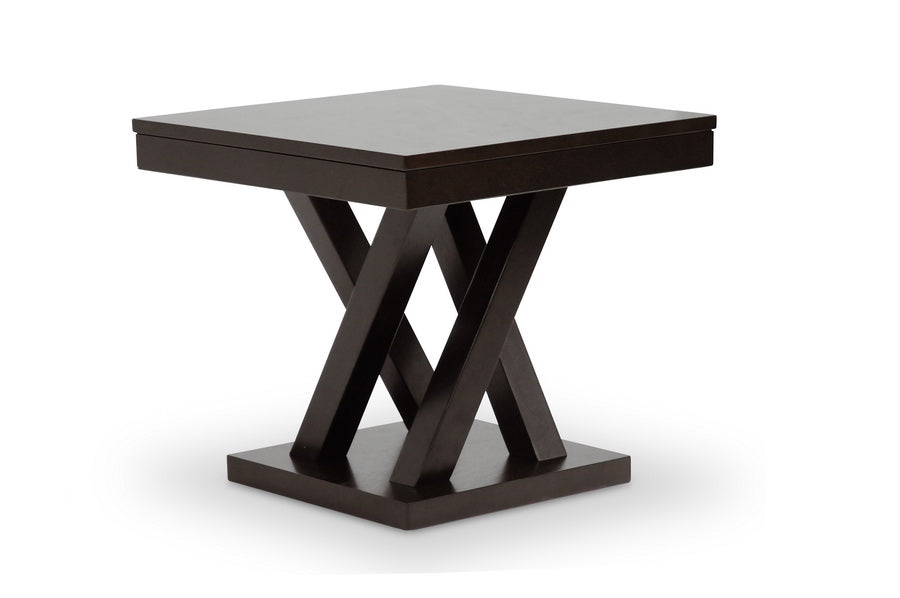 EVERDON DARK BROWN MODERN END TABLE