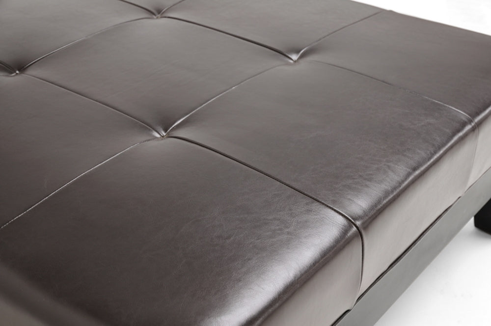 Dark Brown Large Full Leather Square Cocktail