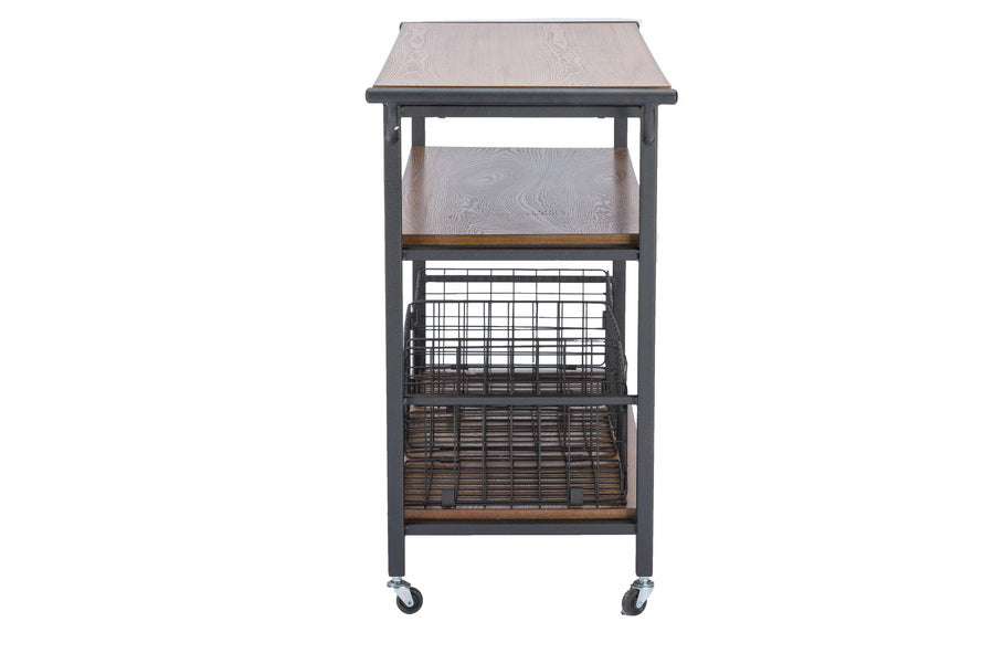 LANCASHIRE BROWN WOOD & METAL KITCHEN CART