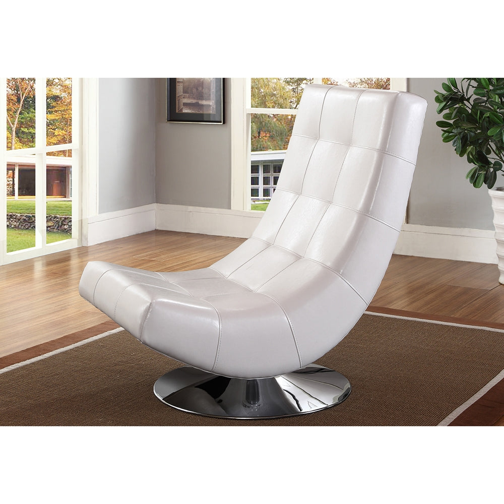 ELSA MODERN AND CONTEMPORARY WHITE FAUX LEATHER UPHOLSTERED SWIVEL CHAIR WITH METAL BASE