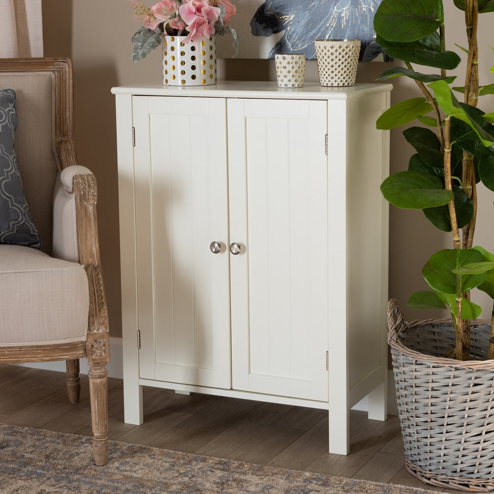 THELMA COTTAGE AND FARMHOUSE WHITE FINISHED 2-DOOR WOOD MULTIPURPOSE STORAGE CABINET