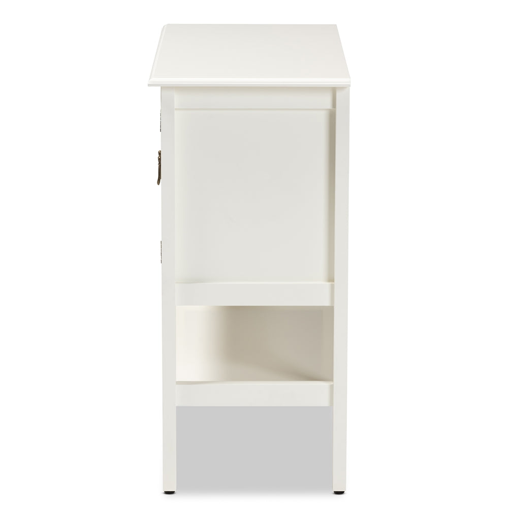 HAUNCEY CLASSIC AND TRADITIONAL WHITE FINISHED WOOD AND GLASS 2-DOOR KITCHEN STORAGE CABINET