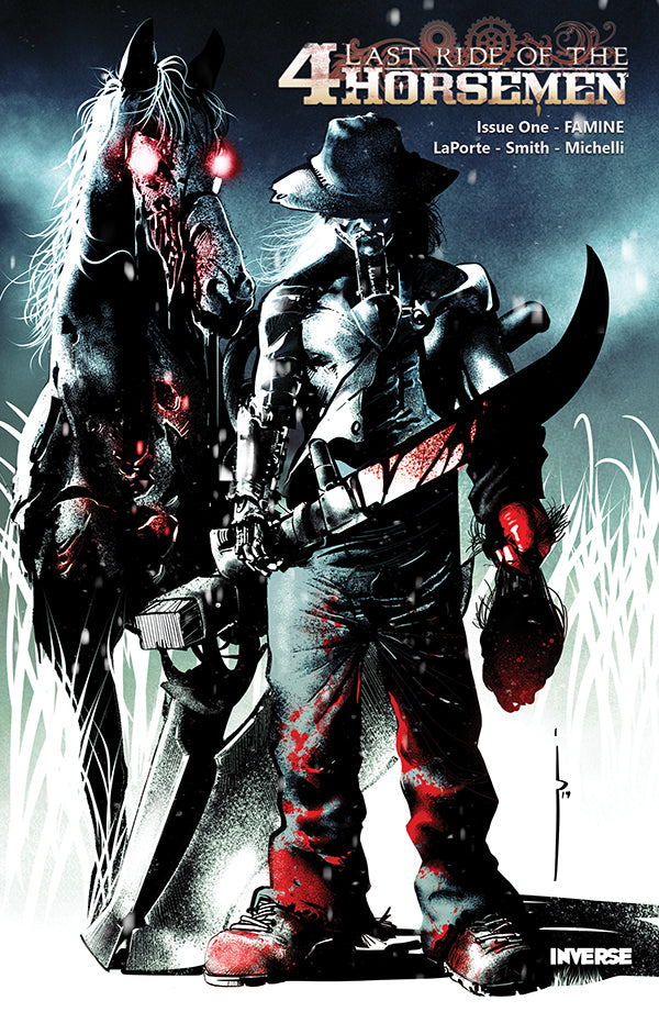 Last Ride of the 4 Horsemen Steampunk Comic Cover by Oscar Pinto featuring Famine Horseman and Horse