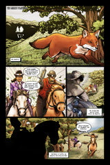 Last Ride of the 4 Horsemen Steampunk Comic Issue 3 Page 1 Art by Nathan Smith & Andrew Pate featuring War Horseman and Horse