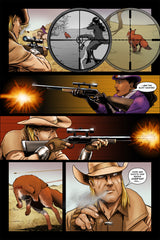 Last Ride of the 4 Horsemen Steampunk Comic Issue 3 Page 3 Art by Nathan Smith & Andrew Pate featuring War Horseman and Horse