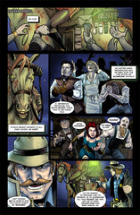 Last Ride of the 4 Horsemen Steampunk Comic Issue 2 Page 1 Art by Nathan Smith & Gavin Michelli featuring Pestilence Horseman and Horse