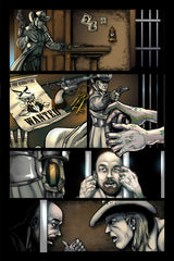 Last Ride of the 4 Horsemen Steampunk Comic Issue 2 Page 8 Art by Nathan Smith & Gavin Michelli featuring Cager Dobbin