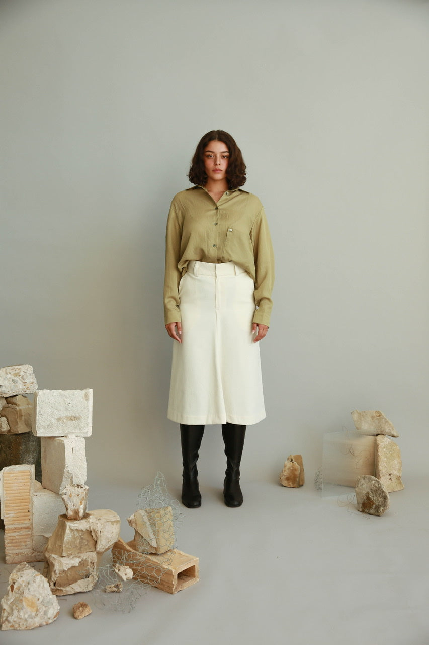 Loose Fit Silky Shirts in Olive