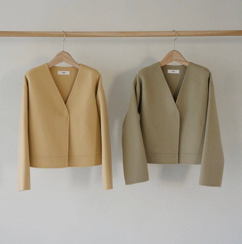 HANDMADE Collarless Wool Coat
