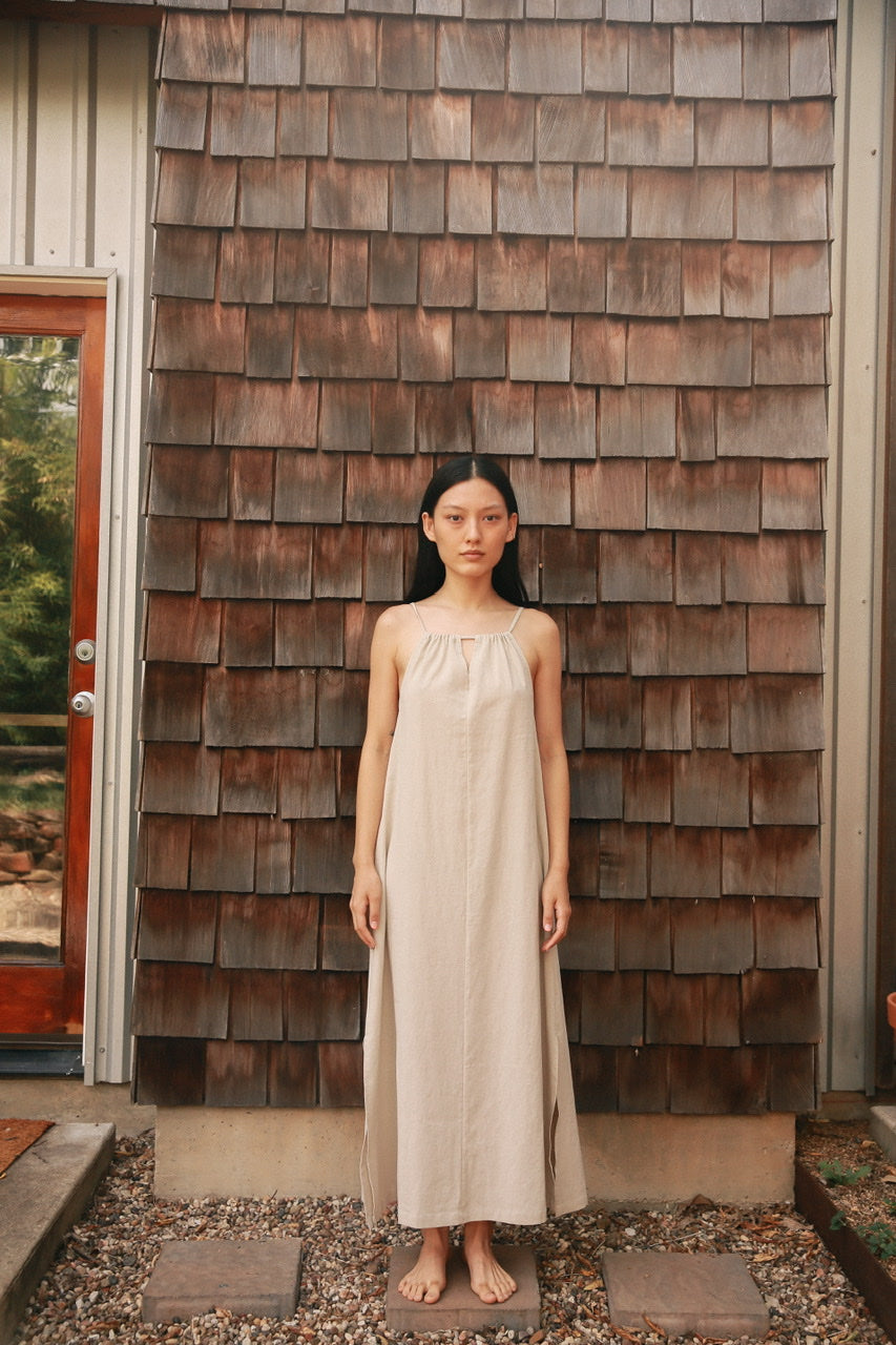 Gathered Neck Long Dress