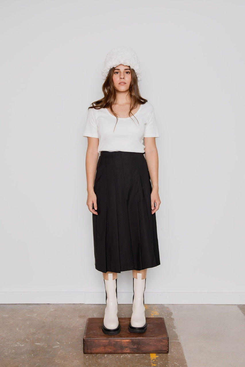 Pleated Wrap Skirt in Black