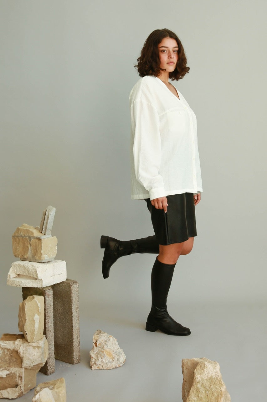 Oversized V-neck Shirt in White