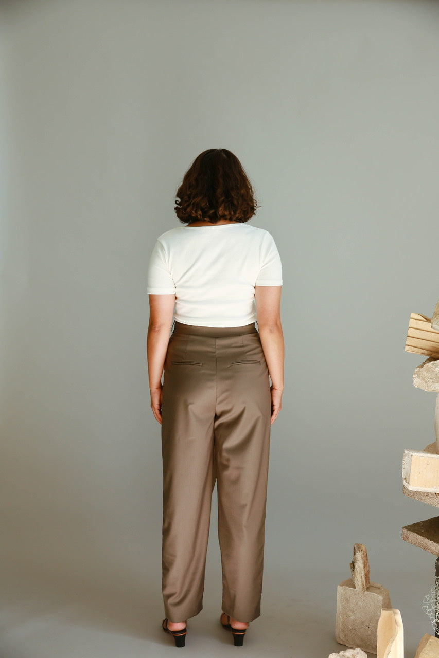 Wrap Pleat Front Trousers in Khaki