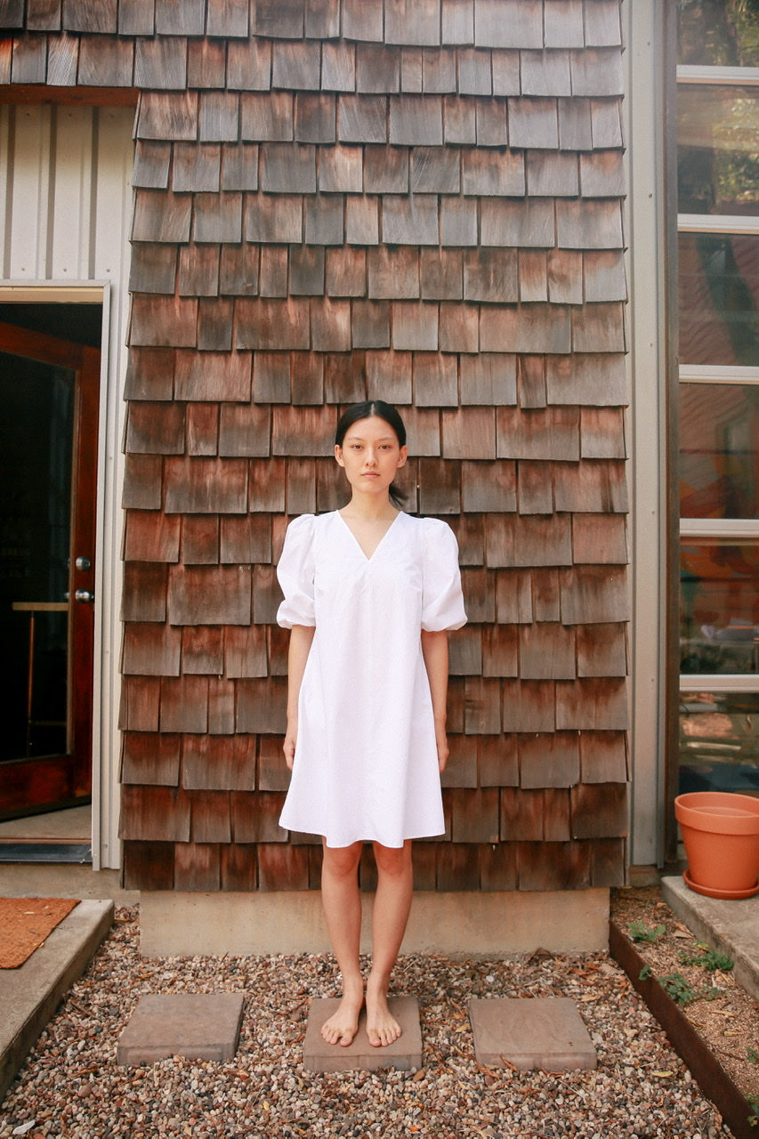 Puff Sleeve Mini Cotton Dress - White