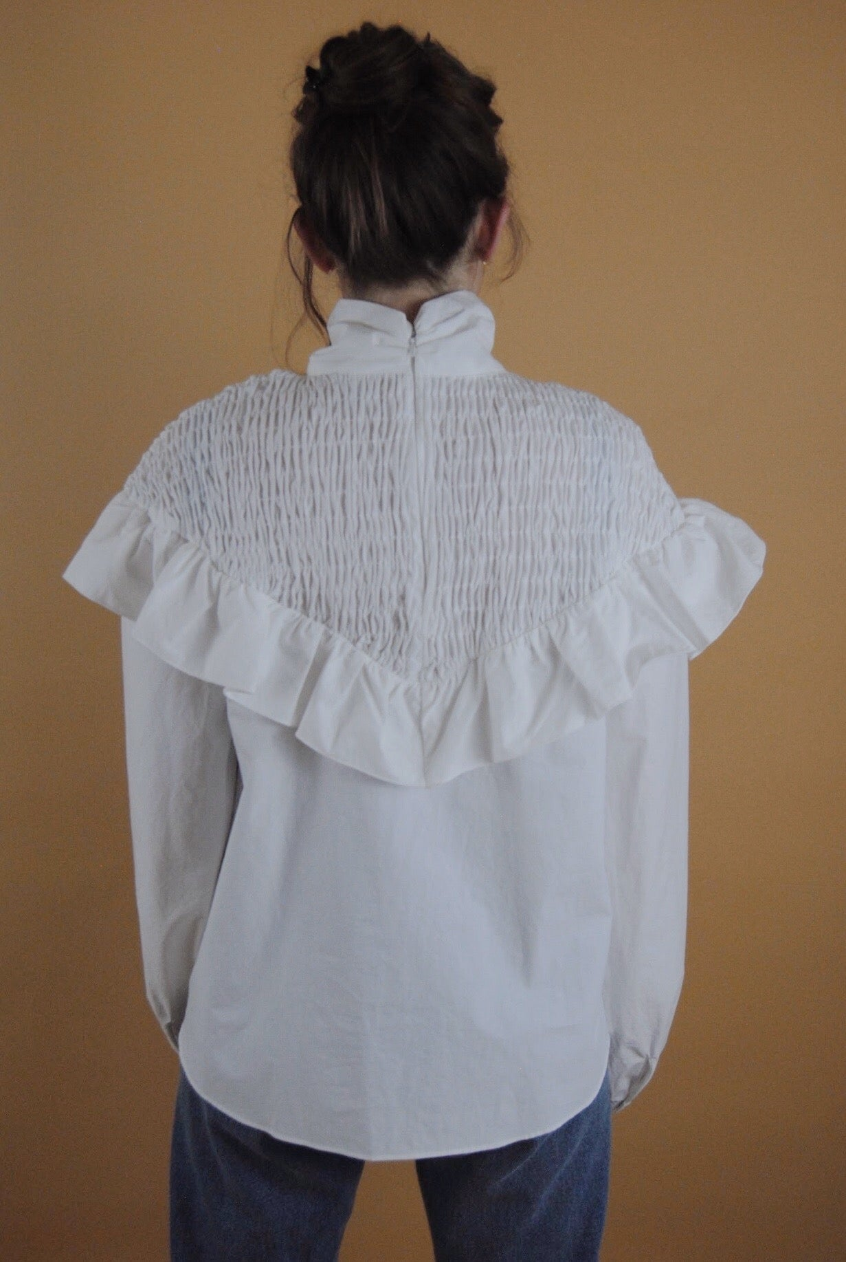 Frill Smocked Blouse w/ Mock Neck