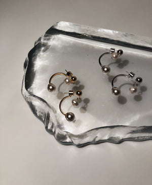 Pearl Hanging Hoop Earrings