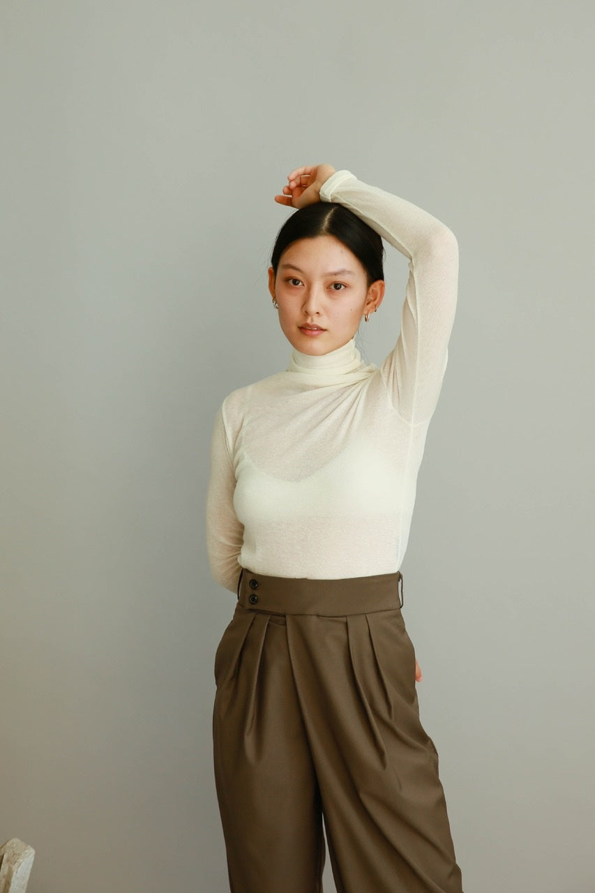 Daily Turtleneck Top in Ivory, Beige