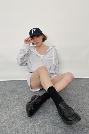 ZIP UP HOOD TOP + SHORTS SET IN GRAY MELANGE