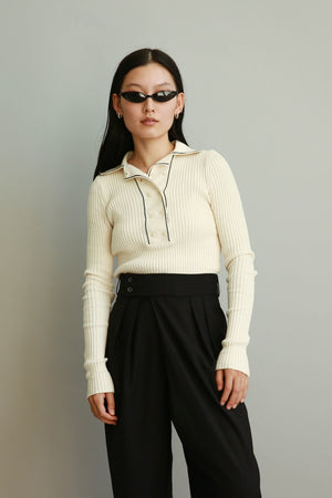 Double Button Knit Top in Ivory