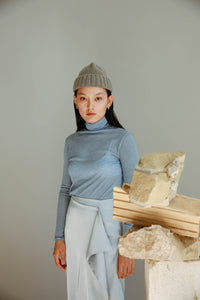 Daily Turtleneck Top in Blue
