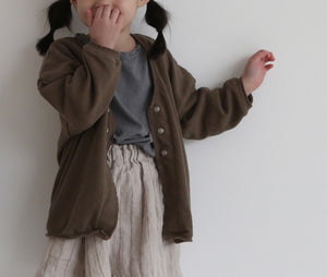 Brown Snap Button Cardigan