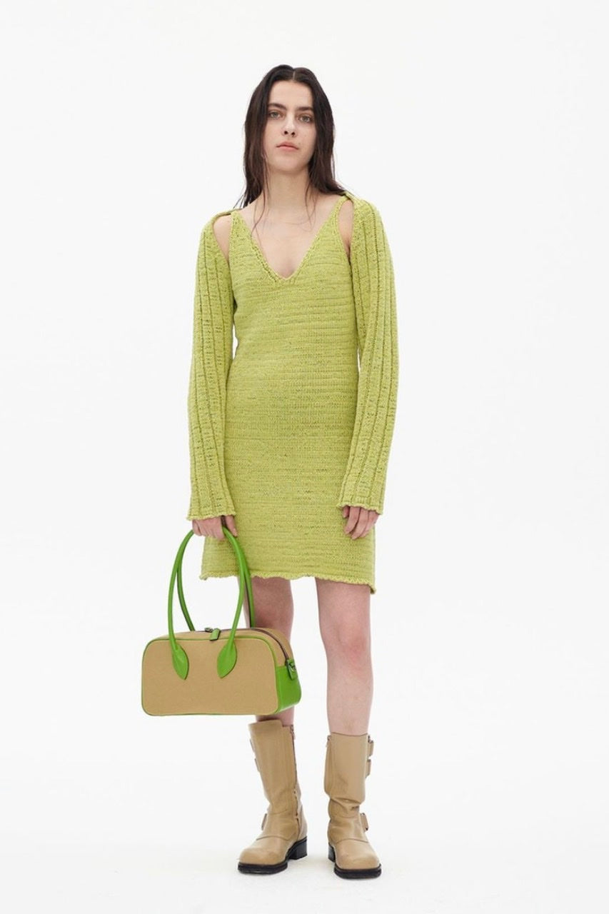 COTTON KNIT SLEEVELESS DRESS BY THEOPEN PRODUCT IN GREEN