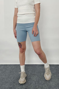 Cotton Ribbed Bike Shorts in Sky blue