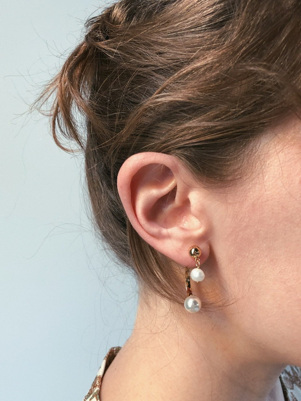Pearl Hanging Hoop Earrings (2colors)