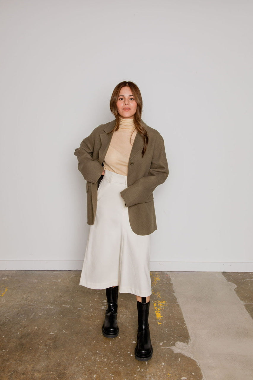 Daily Turtleneck Top in Beige