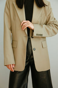 Hidden String Blazer in Khaki
