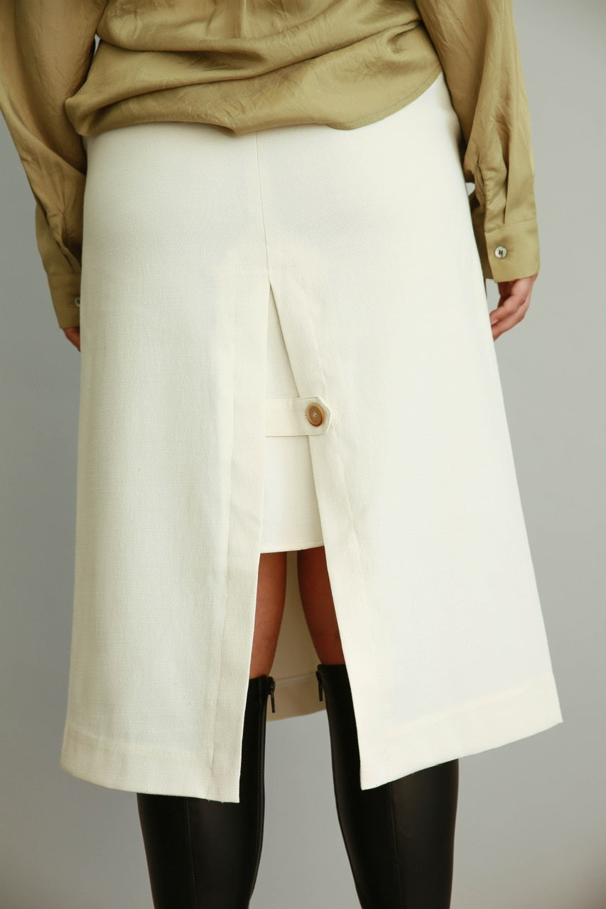 Button Detail Midi Skirt - Ivory