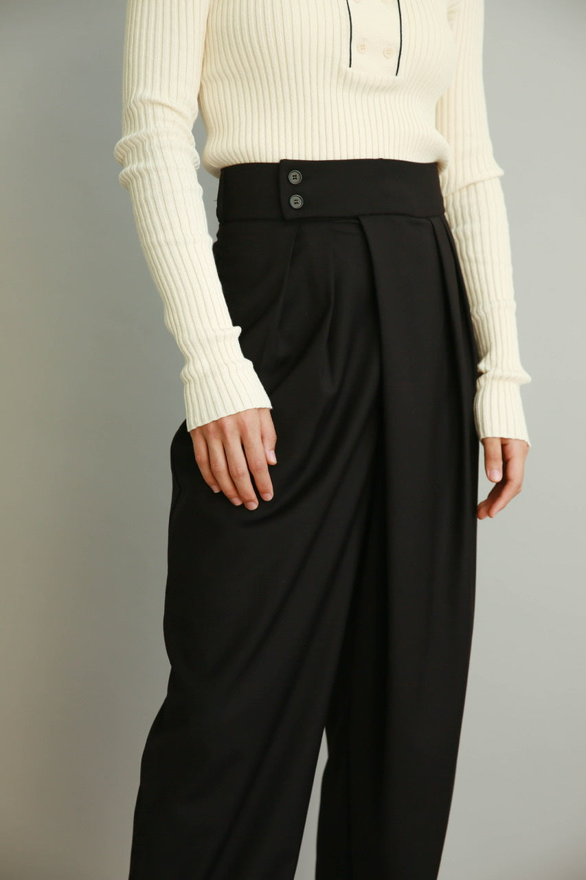 Wrap Pleat Front Trousers in Navy