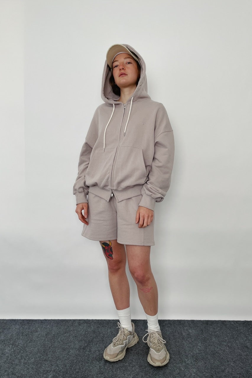 ZIP UP HOOD TOP + SHORTS SET IN LILAC