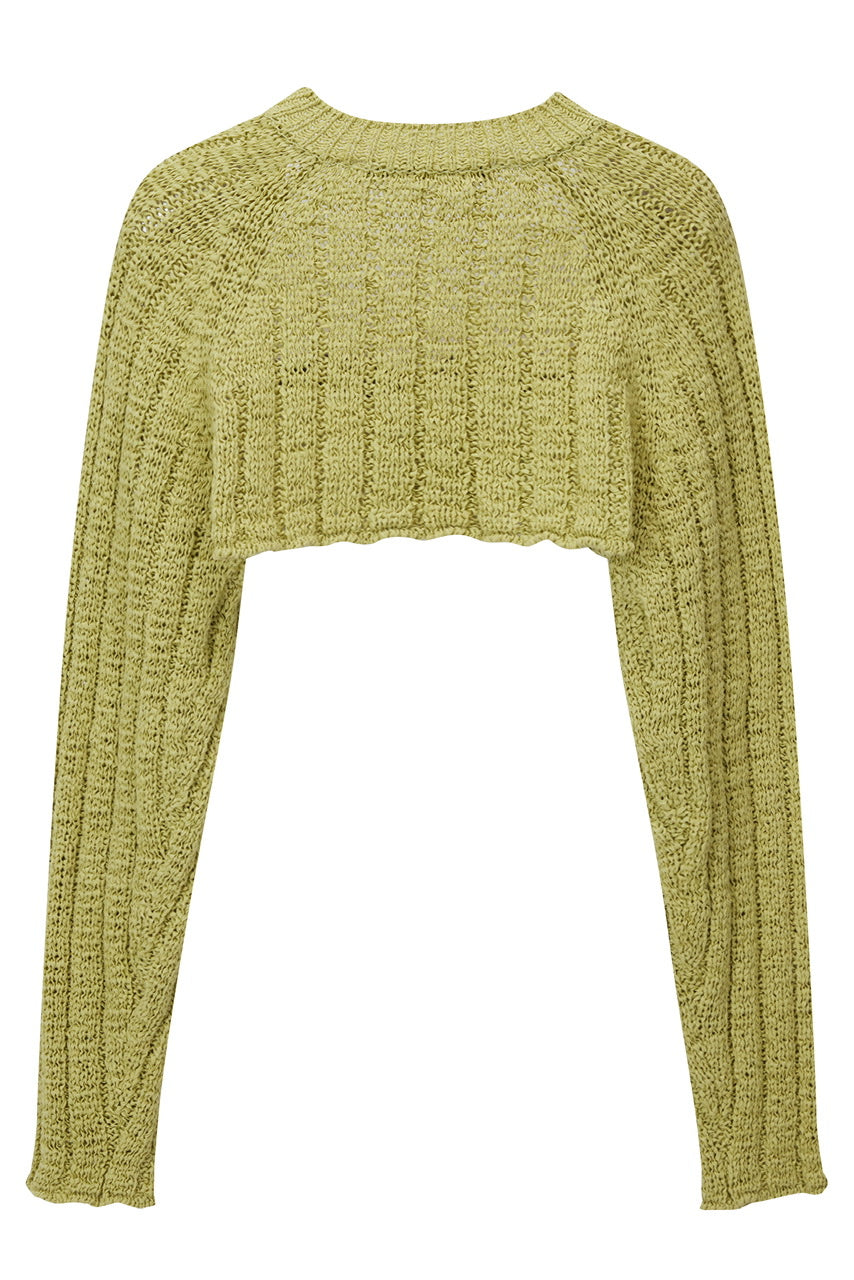 COTTON RIBBED BOLERO KNIT TOP BY THEOPEN PRODUCT IN GREEN