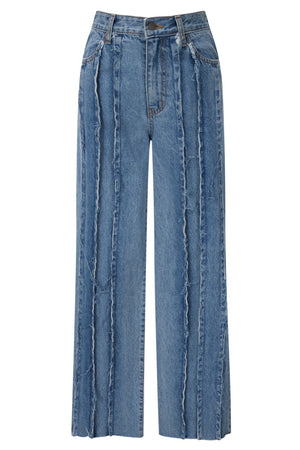 RAW-EDGE PANELLED JEANS BY THEOPEN PRODUCT IN BLUE