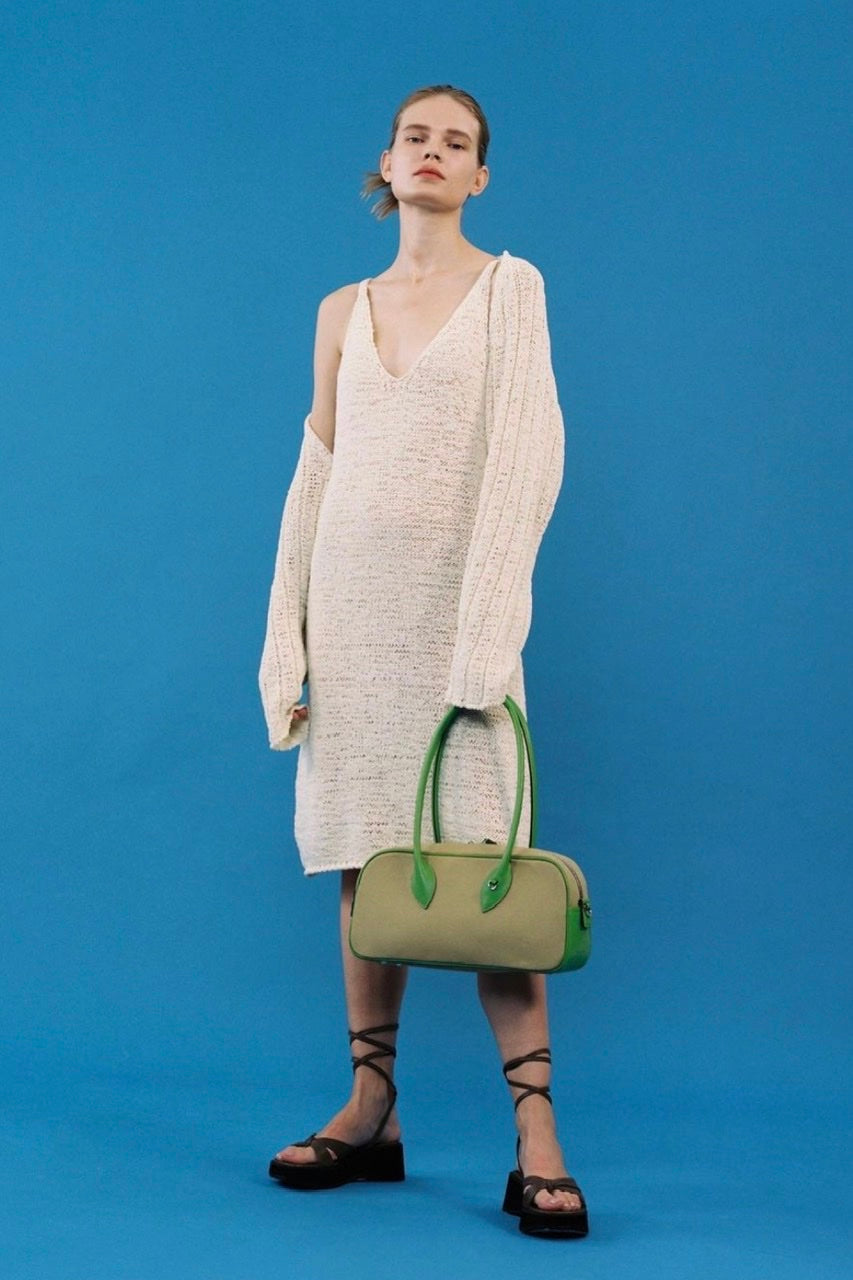 COTTON KNIT SLEEVELESS DRESS BY THEOPEN PRODUCT IN CREAM