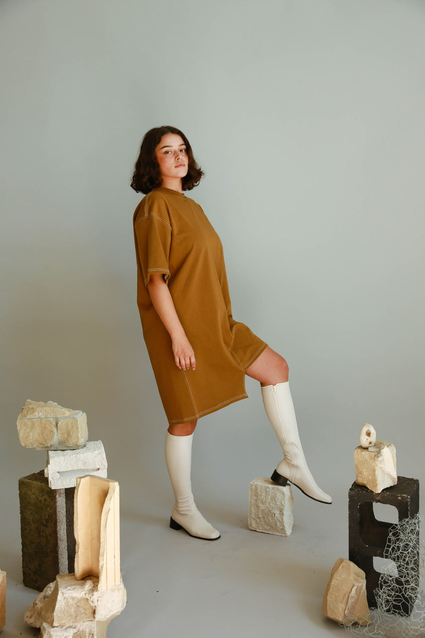 Stitch Cotton Dress in Khaki