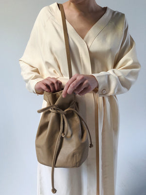 String Leather bucket Bag