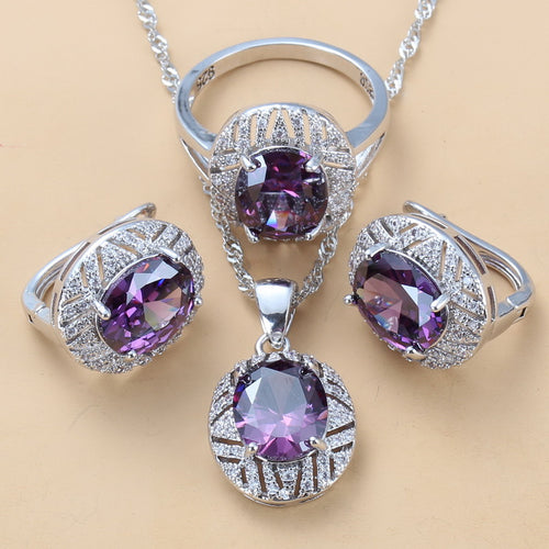 Per-Gull Hollow Out Purple Crystal Pendant Austrian Crystal Necklace Earrings Set for Women