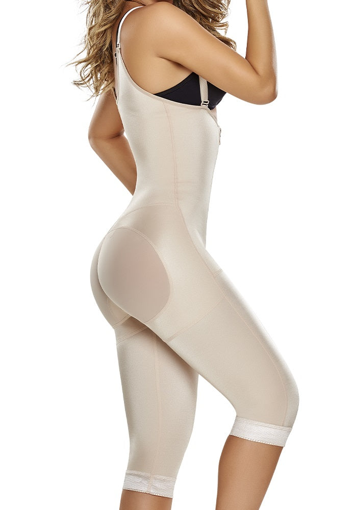 1242 Knee Length Body Shaper with Firm Compression butt lifter Front Zipper Nude