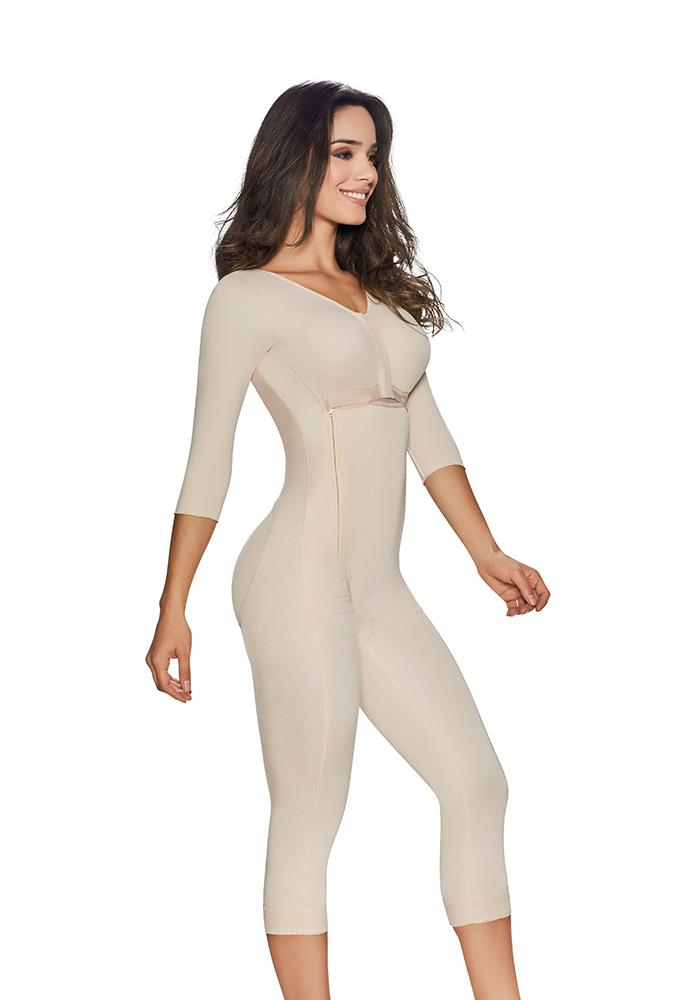 1253 full bodysuit girdle with 3/4 lenght compression sleeves Nude
