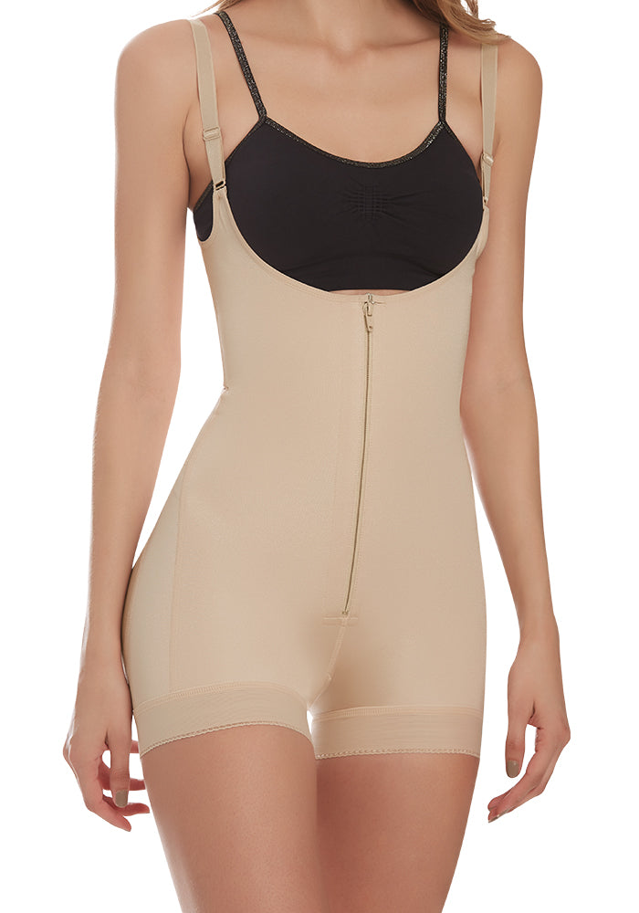 1212 Open Bust Body Shaper Boyshort with Firm Tummy compression and butt lifter nude