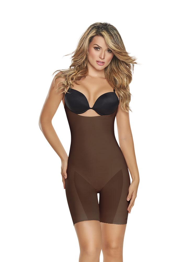 1272 Invisible Open Bust Bodysuit MOCHA