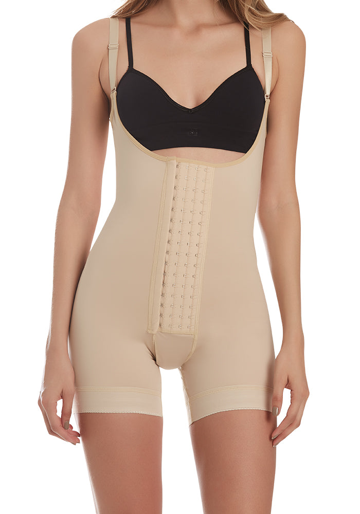 1261 Firm compression Body Shaper with Butt Lifter Front Hook nude