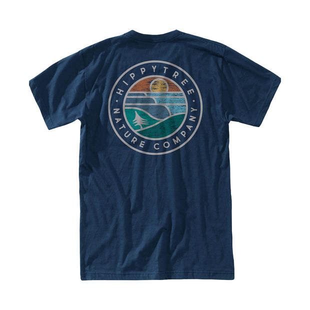 Hippy Tree Waveform Eco Tee for Men Navy